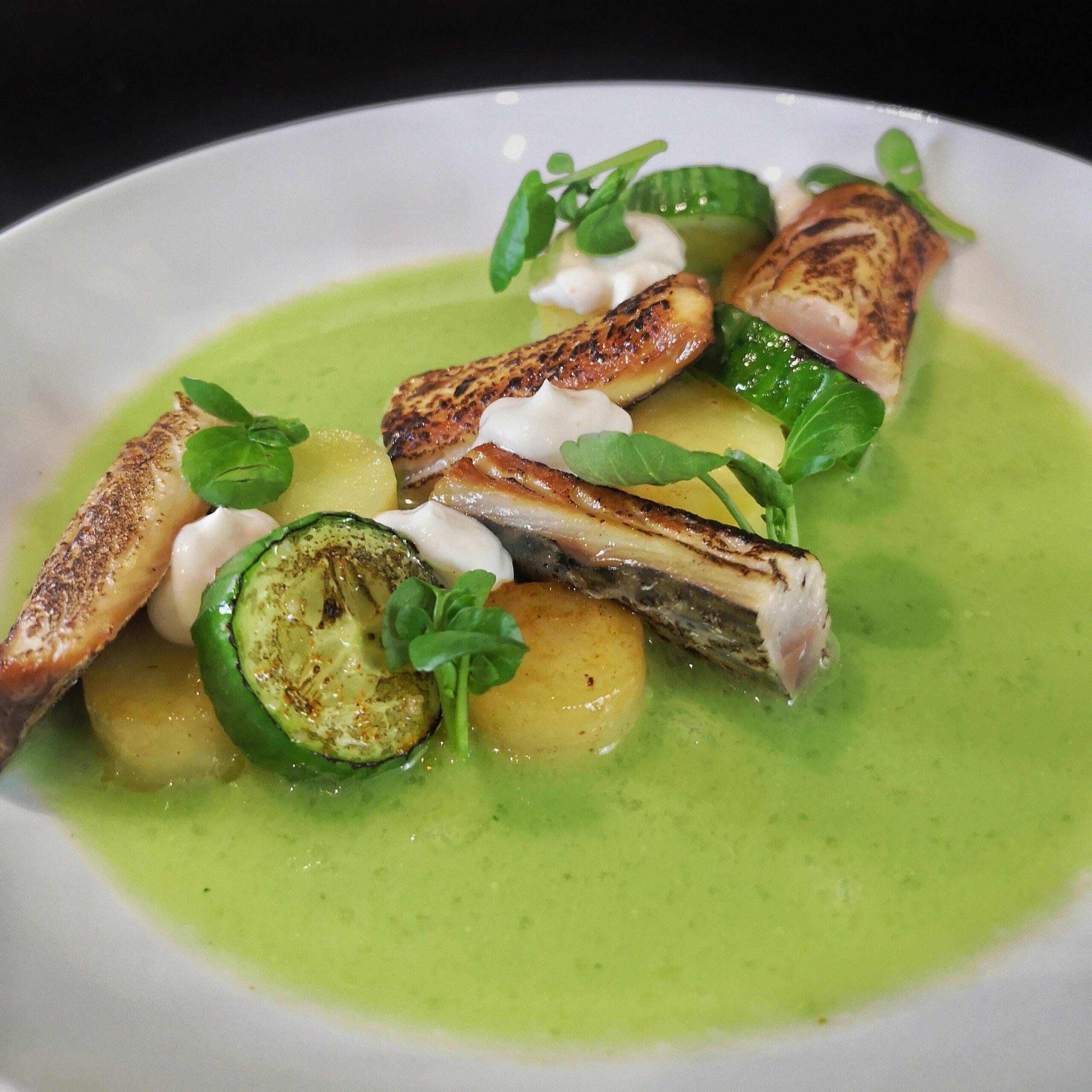 Gemarineerde en gebrande makreel met gazpacho van komkommer, hangup en koolrabi