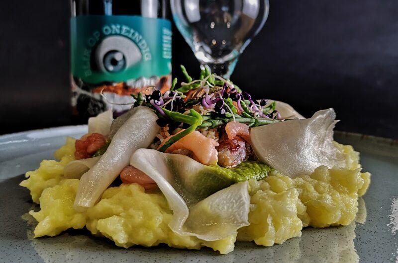 king krab met wasabi erwtjes en jonge raapjes