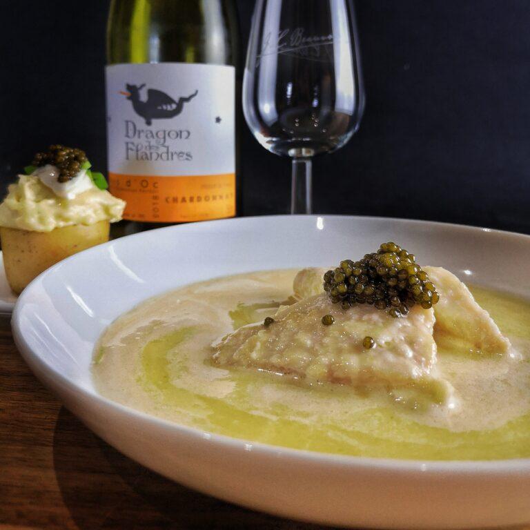 Zonnevis met champagne beure blanc en Russian Ascetra kaviaar van House of caviar Belgium